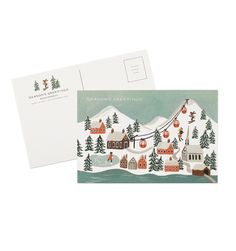 Holiday Snow Scene Set of 10 Postcards
