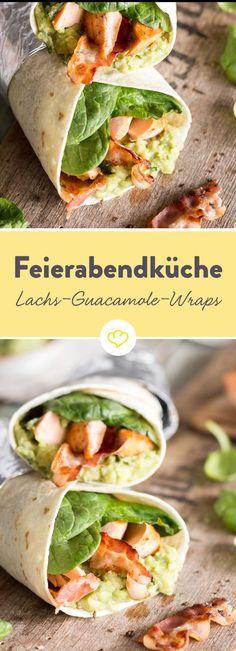 Gebratener Lachs, Guacamole, Spinat und knuspriger Bacon.