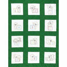 Stamped White Nursery Quilt Blocks 9-inch x 9-inch 12pk