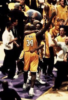 Kobe & Shaq celebrate the NBA Championship
