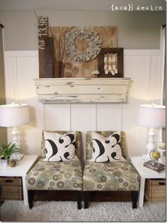 I like parts of this idea. The beadboard is great, I'd change the chairs to a leather brown and I'd pick different pillows.