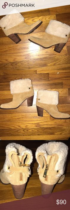 Brand new! Suede and fur booties Brand new without box, suede and fur booties Tommy Hilfiger Size 7.5 Never worn Tommy Hilfiger Shoes Ankle Boots & Booties