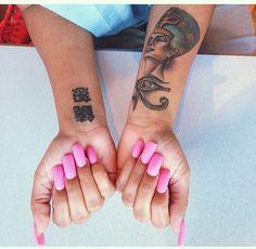 Hot Pink Nails and Tats