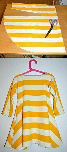 Amazing Sewing Patterns Clone Your Clothes Ideas. Enchanting Sewing Patterns Clone Your Clothes Ideas. Shirt Refashion, T Shirt Diy, Diy Clothing, Sewing Clothes, Dress Clothes, Girls Dresses Sewing, Sewing Dolls, Woman Clothing, Doll Clothes