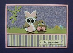 owl dressed up as easter bunny with Stampin' Up! Owl Builder Punch.