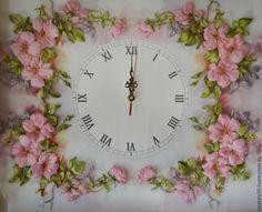 """Купить Часы интерьерные """"В зарослях шиповника"""" - часы для интерьера, интерьерные часы, картина-часы"""