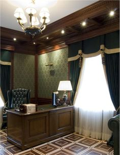 Stately Traditional Home Office by Vladimir Lomakin on HomePortfolio