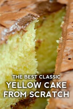 Grandma's (From-Scratch) Chocolate-Frosted Yellow Cake – 12 Tomatoes - Deserts - Kuchen Sheet Cake Recipes, Dessert Cake Recipes, Homemade Cake Recipes, Desserts, Homemade Vanilla Cake, Moist Vanilla Cake, Yellow Cake From Scratch, Cupcake Recipes From Scratch, Moist Yellow Cakes