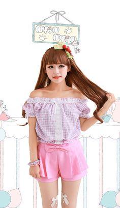 520fbc55f715 Cute bowed pink fairy kei short shorts
