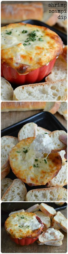 This Shrimp Scampi Dip is the best game day food to ever cross my path. It's sooooo good.