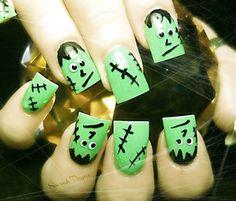 Frankenstein Acrylic Nails