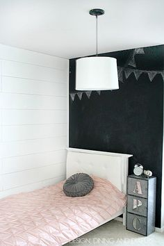 How To Install White Wood Plank Walls. looks awesome with the chalkboard wall!