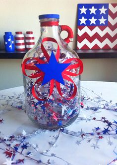 Red White and Blue Glass Jug with Star Garland and by tinamarietwo, $15.00
