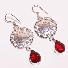 Wonderful Faceted Garnet .925 Silver Handmade Earring Jewelry SJA194 #Handmade