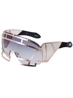 Linda Farrow Futuristic Sunglasses in Silver (black) Funky Glasses, Cool Glasses, Futuristic Sunglasses, Ai No Kusabi, Sunglasses Sale, Linda Farrow, Crazy Shoes, Eyeglasses, Eyewear