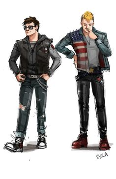 (via puppysteeb) This one is punk Steve and Bucky, which I mostly had done as costume reference when I got stuck on my punk!Bucky cosplay, but the art is just amazing!