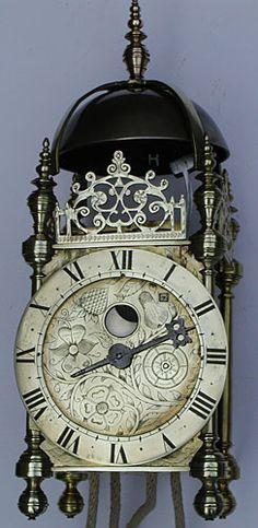 english lantern clock with moondial : circa 1630