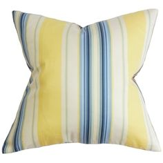 Douce Stripe Down Fill Throw Pillow Blue Yellow