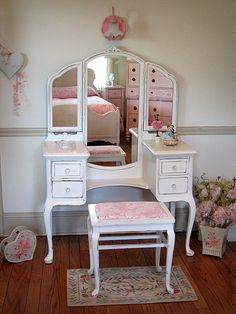 Adorable White Vanity with Tri-fold Mirror and Bench