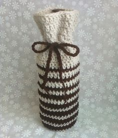 Hand Crocheted Wine Bottle Cozy Bag - Offwhite Chocolate Brown. $18.00, via Etsy.