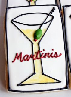 A Dozen Martini Cookies Perfect for your by CraftedCookies