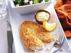 Panko-crusted fish fillets - Added squirt of lemon before dipping and salt/pepper to fish before panko crumbs