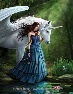 Anne Stokes, Darkness Girl, Gothic Angel, Mystical Animals, Unicorn Wall Art, Canvas Designs, Art Designs, Step By Step Painting, Fantasy Artwork