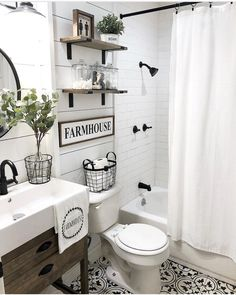 Farmhouse bathroom ideas - 50 Lovely Bathroom Decor Ideas With Farmhouse Style - hoomdesign Bathroom Renos, Bathroom Renovations, Bathroom Interior, Dyi Bathroom, Remodel Bathroom, Bathroom Colors, Shiplap In Bathroom, Basement Bathroom Ideas, Shiplap Bathroom Wall