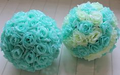"""Beautiful flower ball will make a nice decoration on your wedding 10"""" in diameter Half ball style and can be put together easily. Each ball consists 2 half balls. Will be packed tight to save on sh"""