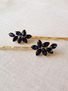 Navy blue rhinestone leaf bobby pin crystal by ChicMaddiesBoutique
