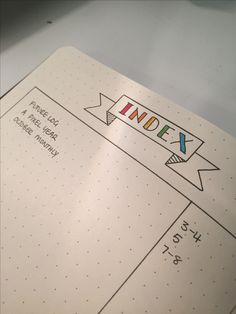 Bullet journal fresh out of the box. Index page started. Rhodia webnotebook