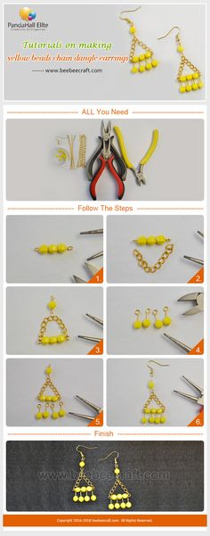 #Beebeecraft #Tutorials on making #yellow beads chain #dangleearrings