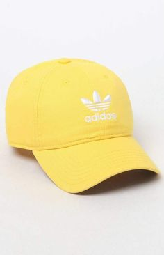 Finish any look with a fresh cap provided by adidas. The Relaxed Yellow Strapback Dad Hat has an adjustable rear, breathable embroidered eyelets, and adidas Trefoil logos on the front and back. Baseball Hats, Baseball Jewelry, Funny Baseball, Baseball Pitching, Baseball Season, Adidas Cap, Yellow Adidas, Yellow Clothes, Nike Sneakers