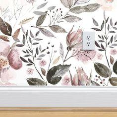 UtART - Autumnal Watercolor Flowers custom wallpaper by utart for sale on Spoonflower Office Wallpaper, Iphone Background Wallpaper, Bathroom Wallpaper, Wallpaper Roll, Flower Wallpaper, Peel And Stick Wallpaper, Accent Wallpaper, Nursery Wallpaper, Karim Rashid