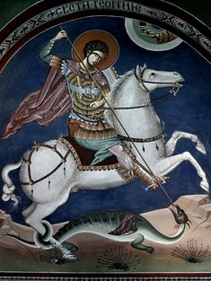 This photo from Serbia, North is titled 'Fresco of St. Patron Saint Of England, St George's Cross, Greek Soldier, Greek Icons, Saint George And The Dragon, Roman Gods, Byzantine Icons, Patron Saints, Orthodox Icons