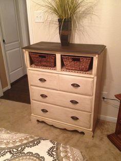 Dresser redo with burlap shelves and baskets!