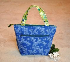 Thermal lunch bag, reusable lunch tote, zippered lunchbag, insulated tote bag, adult lunch box, blue and green floral lunchbox with pocket