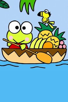 Kerokerokeroppi (Sanrio) in a boat Little Twin Stars, Keroppi Wallpaper, Japan Illustration, Pochacco, Favorite Cartoon Character, Bullet Journal Art, Chalk Markers, Kawaii, Sanrio Characters