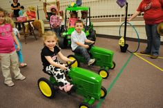 Cowgirl party game-  Tractor Race