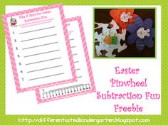 Easter Pinwheel Subtraction Fun and Freebie