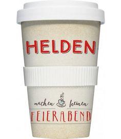 "Rannenberg Coffee To Go Becher ""Helden"" Kaffeebecher Porzellan Reise Reisebecher   - 2-flowerpower"