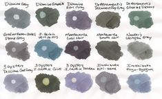 The Great Grey Fountain Pen Ink Comparison - Fountain Pen Love Turquoise And Purple, Fountain Pen Ink, Penmanship, Grey Stone, Brush Pen, Artist Art, Art Supplies, Journaling, Stationery