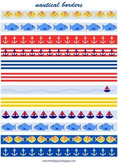 MeinLilaPark – DIY printables and downloads: Free printable nautical planner stickers : borders - fake masking tape - freebie