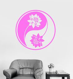 Vinyl Wall Decal Yin Yang Lotus Yoga Meditation Buddhism Art Mural Stickers (ig3107)