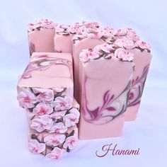 The cut of Hanami, goat milk soap scented with cherry blossom.