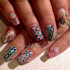 Neon Coral, Turquoise  Golden Glittery Mix