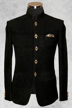 Black well dressed jute suit with bandhgala collar-ST518 - Jodhpuri Suits - Men's Suits - Men's Wear