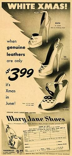 Mary Jane Shoes mail order ad, 1949. #vintage #shoes #fashion #1940s #ads
