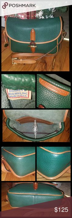 Dooney and Bourke Loden Shoulder Bag This is an Authentic Dooney and Bourke AWL Loden Shoulder Bag in Fir; style R87. A very gorgeous bag!! Love the braided leather rope & solid brass toggle closure. This bag features an outside back pocket & an adjustable, detachable shoulder strap. There's also an inside pocket with credit card slots. Normal wear on the corners. No major flaws..a few stains on the inside. Dooney & Bourke Bags Shoulder Bags