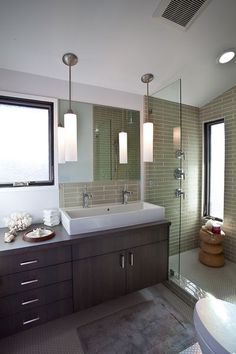 Interior designer Bridgid Coulter's recent renovation of a 1953 single story bungalow in Venice, CA Large Bathroom Sink, Large Bathrooms, Master Bathroom, 50s Bathroom, Bathroom Renos, Bathroom Ideas, Bath Ideas, Bungalow Homes, Master Bath Remodel